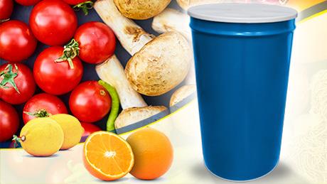 bidón cónico para tomates, aguacates, zumos, verduras y otras frutas