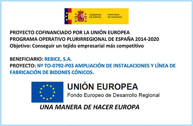 Proyecto de bidones cónicos cofinanciado por la Unión Europea